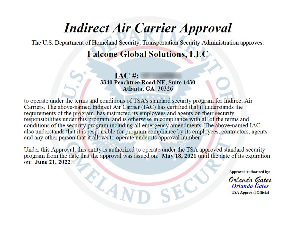 TSA Indirect Air Carrier Certificate